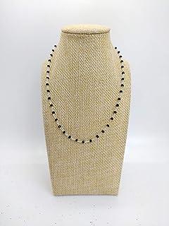 CHOKER Collana girocollo stile rosario realizzata a mano con filo di colore argento e cristalli di colore nero