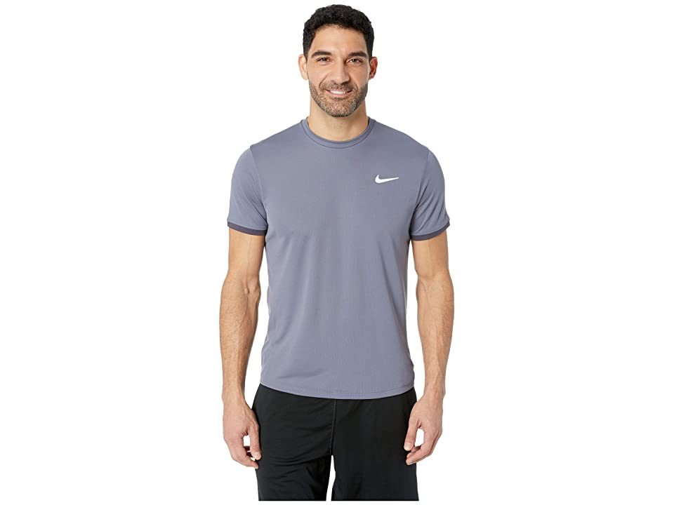 Nike NikeCourt Dri-FIT Short Sleeve Tennis Top (Light Carbon/Gridiron/Light Carbon) Men