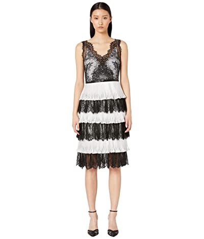 Marchesa Notte Pleated Shimmer Lame Tea Length Gown (Black/White) Women