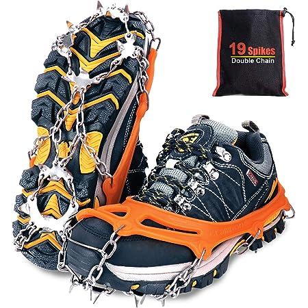 Tevlaphee Crampones,19 Dientes Tacos de tracción Nieve y Hielo Tracción para Invierno Deportes Montañismo Escalada Caminar Alpinismo Cámping Acampada Senderismo