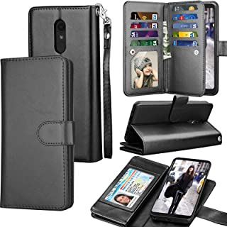 LG Stylo 4 Case, LG Q Stylus Wallet Case, LG Stylo 4 Plus PU Leather Case, Tekcoo ID Cash Credit Card Slots Holder Purse Carrying Folio Flip Cover [Detachable Magnetic Hard Case] & Kickstand - Black