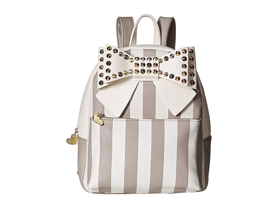 Betsey Johnson Studded Bow Backpack (Cement) Backpack Bags