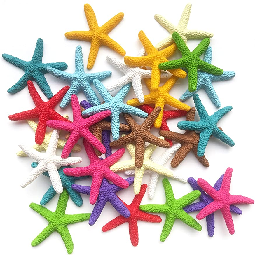 Toosunny 30 Pieces Starfish Decor, Colorful Resin Pencil Finger Starfish Decorative & Dried Starfish Ornaments for Wedding Party Christmas, Home and Crafts Project