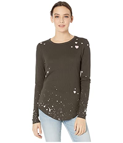 Chaser Pretty Little Hearts Thermal Shirttail Crew Neck Tee (Vintage Black) Women