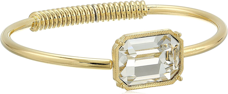 1928 Jewelry Coil Spring Made with Clear Swarovski Crystal Cuff Bracelet