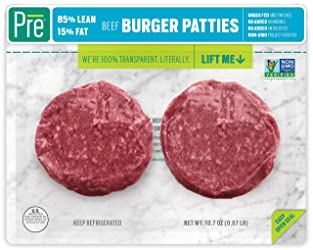 Pre, 85% Lean Burger Patties – 100% Grass-Fed, Grass- Finished, and Pasture-Raised Beef–  10.66oz.