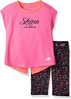 New Balance Kids Baby Girls Short Sleeve Top and Capri Set