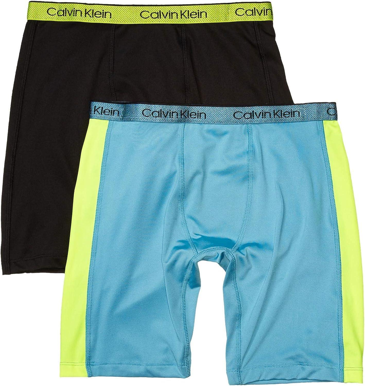 Calvin Klein Boys' Long Length Performance Boxer Brief Underwear, 2 Pack