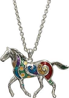 Whimsical Long Multi Color Hand Panted Enamel Unique Silver Tone Theme Pendant Necklace