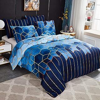 Sets Housse de Couette 200x200 cm avec 2 x Taies d'oreiller 50x70 cm,Mode Unique 3D Géométrique Imprimé Boho Microfibre Li...