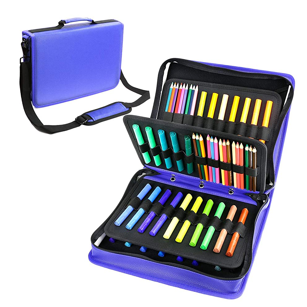 YOUSHARES Colored Pencil & Gel Pen Case in Large Flexible Slot - PU Leather Colored Pencil Case with Zipper Holds 180 Colored Pencils or 140 Gel Pens - for Watercolor Pencils, Gel Pens(Blue)