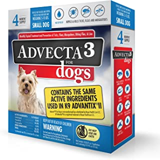 Advecta 3 Flea & Tick Topical Treatment, Flea & Tick Control for Dogs, 4 Month Supply