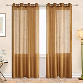 Subrtex 2 Faux Silk Semi-Sheer Window Elegance Curtains/Drape/Panels/Treatment and Solid Grommets for Bedroom52'' x 84'', Gold, 52'