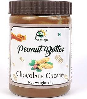 FARMINGO Chocolate Peanut Butter Creamy 1 KG Made with Roasted Peanuts Cocoa Powder & Choco Chips Non GMO Gluten Free Vegan