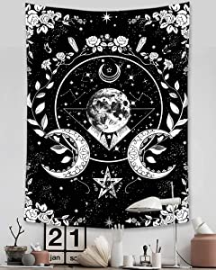 Accnicc Sun Moon and Star Tapestry Wall Hanging, Black and White Tapestry, Goth Witch Stars Floral Mystic Wiccan Aesthetic Wall Tapestries for Bedroom Dorm Living Room (Black, 36'' × 48'')