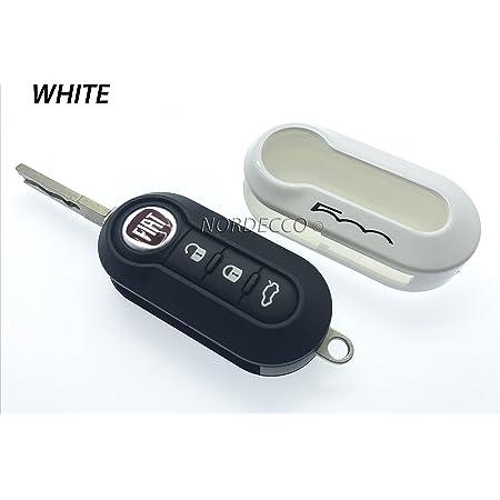 Protex Hochglänzende Qualitäts Schlüsselfernbedienungshülle Für Fiat 500c 500 500l 500x Abarth Grande Punto Brava Panda Stilo Linea Weiß Auto