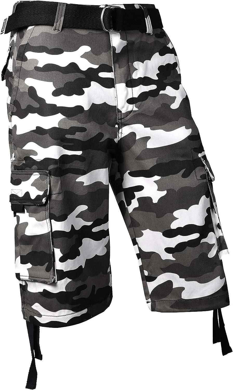 Pro Club Mens Cotton Twill Cargo Shorts Belt 30~64