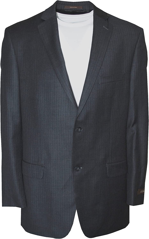 Tasso Elba Men's Two Button Stripe Wool Cahsmere Suit Jacket Grey 44L