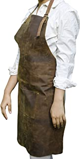 Premium Leather Tool Apron With Leather Pockets & Adjustable Straps | For Carpenters, Chefs, BBQ, Bartenders, Arts & Crafts, Butchers & More l Waterproof & Durable by Priti (Dark Brown)