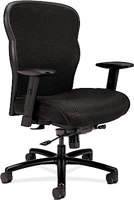 HON Wave Mesh Big and Tall Executive Chair | Knee-Tilt | Adjustable Arms | Black Fabric Seat | HVL705 Model