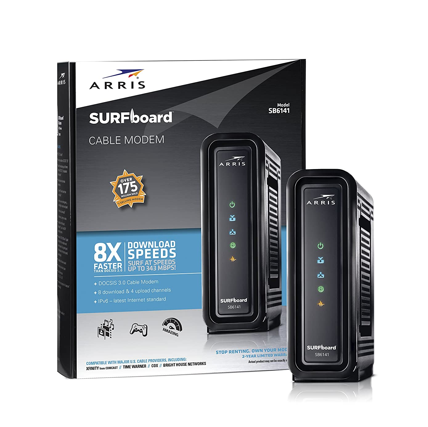 ARRIS SURFboard (8x4) DOCSIS 3.0 Cable Modem, 343 Mbps Max Speed, Certified for Comcast Xfinity, Spectrum, Cox, Cablevision & more (SB6141 Black)