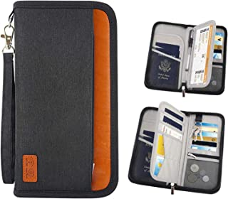 Passport Holder Bag, Rumanle Travel Passport Wallet Bag Waterproof RFID Blocking Card Organiser with Hand Strap Zip,Ticket...
