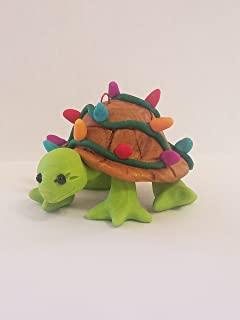 TURTLE CHRISTMAS ORNAMENT Tangled in Christmas Lights Hand Made Polymer Clay OOAK