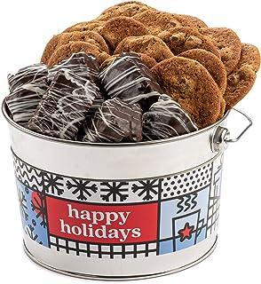 David's Cookies Happy Holidays Cookies & Brownie Bites Bucket – Signature Crispy & Delicious Chocolate Chip Cookies & Choc...