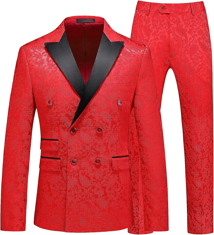 MOGU Mens 2 Piece Double Breasted Tuxedo Slim Fit Jacquard Floral Vintage Groomsmen Wedding Prom Suit