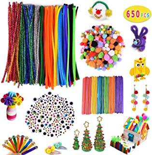 Max Fun 650 Pcs Pipe Cleaners Set - Pipe Cleaners, Pom Poms, Colorful Wiggle Googly Eyes and Craft Sticks for Kids Craft DIY Art Supplies