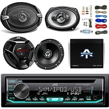 "JVC CD/MP3 AM/FM Radio Player Car Receiver Bundle Combo with 2x JVC 300W 6.5"" 2-Way Car Audio Speakers, 2 x 6x9"" 3-Way Stereo Speaker, 1600 Watt Class A/B Amplifier, Boss 8gauge amp Install Kit"