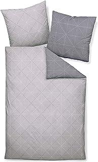 Davos Janine Biber Bettwäsche 2tlg grau Silber 65101-08 | Bettwäsche-Set aus 100% Baumwolle | 2 teilige Wende-Bettwäsche 155x220 cm & Kissen 80x80 cm | Geometrisches Muster