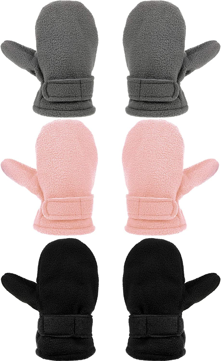 3 Pairs Baby Toddler Winter Mittens Warm Fleece Kids Mittens Baby Snow Skiing Gloves for Boys and Girls Aged 2-4 Years