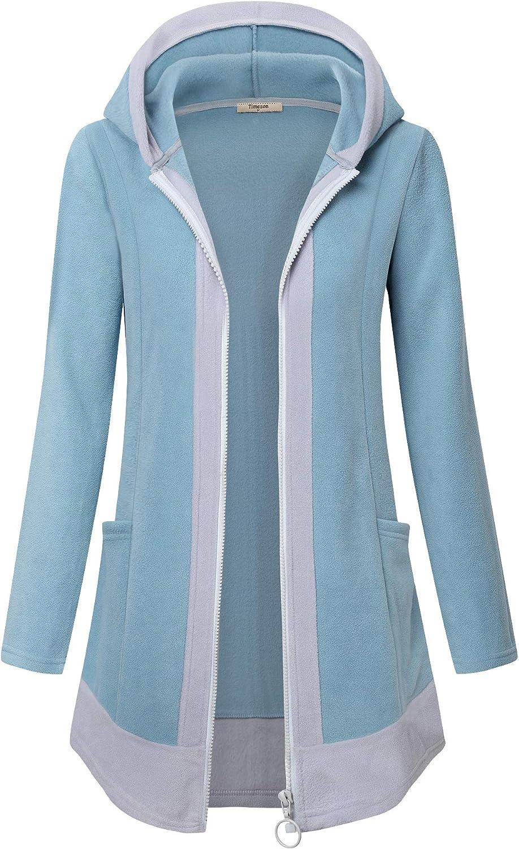 Timeson Women's Full-Zip Soft Fleece Hooded Cardigan Coat with Pocket