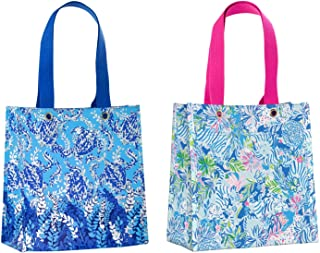 Lilly Pulitzer Reusable Market Shopper Bag Set of 2, Turtley Awesome & Lion Around
