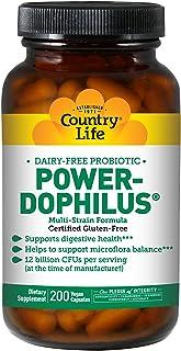 Country Life - Power-Dophilus Dairy-Free Probiotic, 12 Billion CFU's - 200 Vegan Capsules