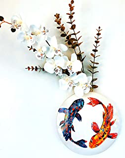 POT PIMPS White Ceramic Koi Wall Vase Wall Art Bathroom Wall Decor Bedroom Wall Decor Wall Planters with Koi Fish Hand Painted Design for Decorative Flower Display, Fake Plants Size 9 Inch