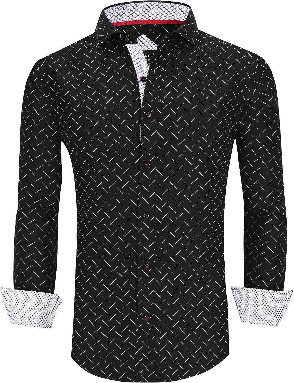 Esabel.C Men's Dress Shirts Long Print Regular Casual Colorado Max 44% OFF Springs Mall Sleeve Fit