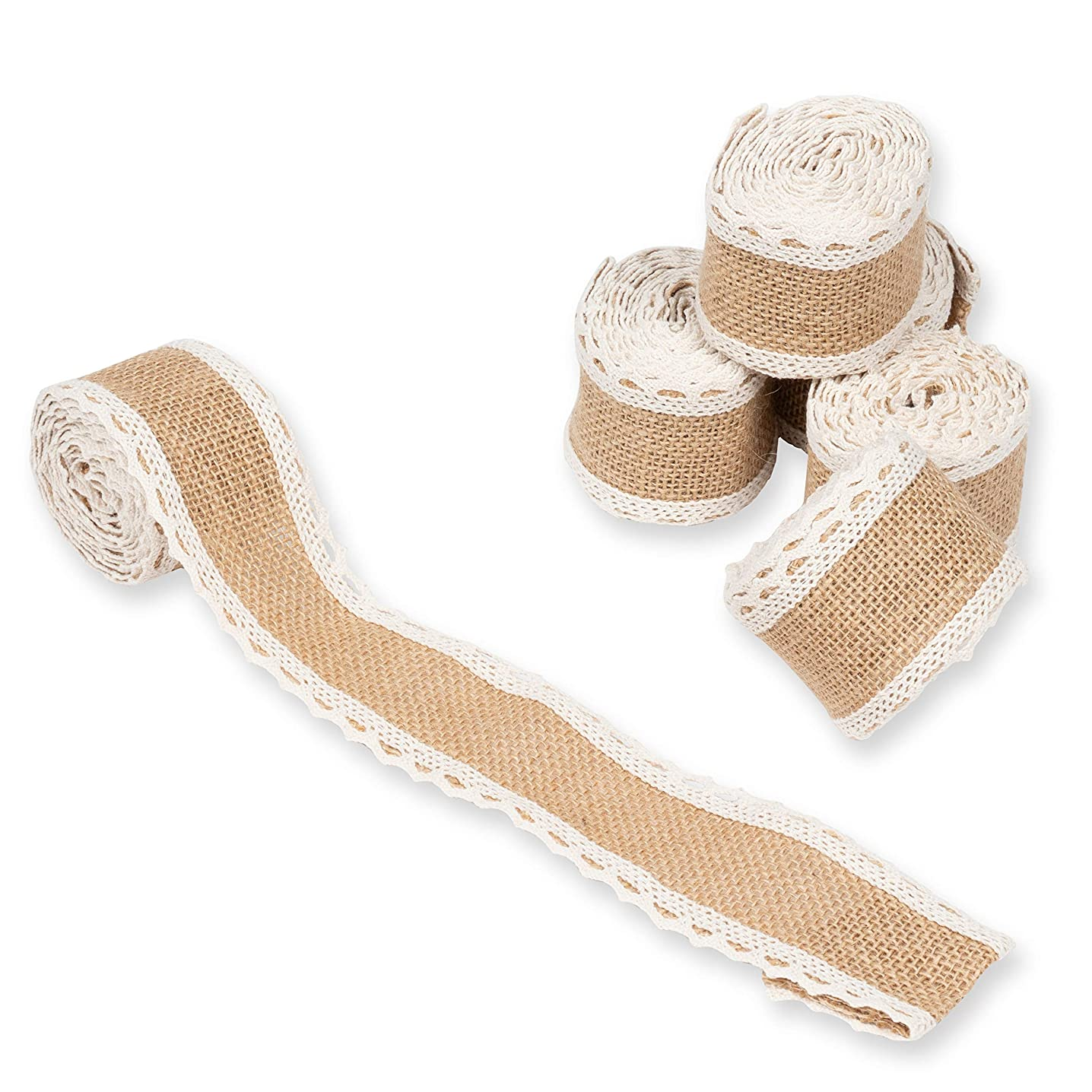 Burlap Fabric Roll - 6-Pack 2.24-Inch Brown Burlap Ribbon with White Laces for Crafts, 2 Yards Each