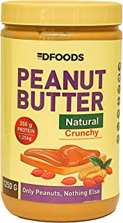 DFOODS All Natural Peanut Butter (Crunchy) (1.25kg) | Unsweetened | 350g Protein | Non GMO | Gluten Free | Vegan | Cholest...