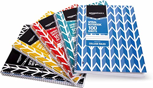 Amazon Basics College Ruled Wirebound Spiral Notebook, 100 Sheet, Assorted Lattice Pattern Colors, 5-Pack