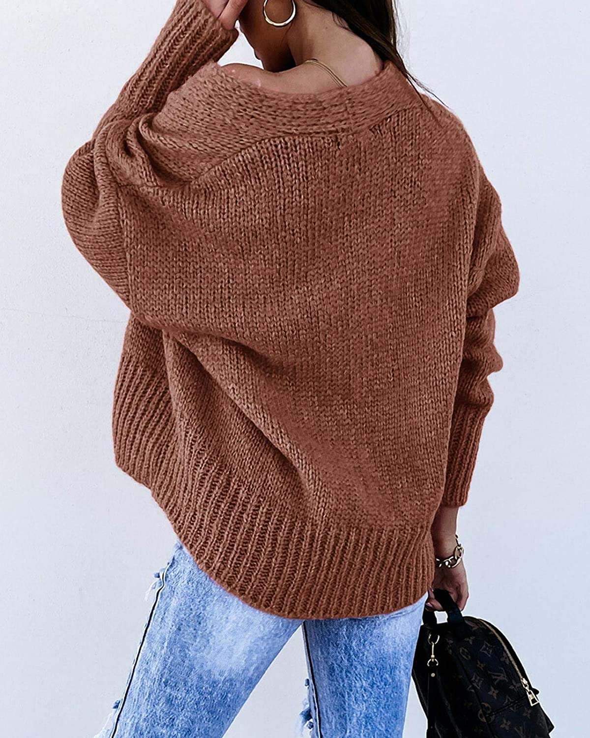 Dellytop Womens Button Down Cropped Cardigan Sweater Off Shoulder Long Sleeve Chunky Knit Outwears