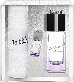 Evaflorparis Je TAime Tendrement Gift Box Eau de Parfum 100 Ml + Miniature 7.5 Ml + Hand Towel Set Women Spray for Her Wo...