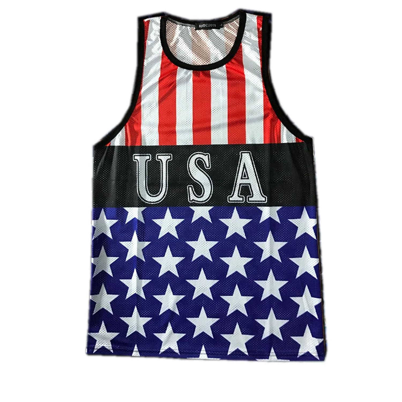 rxbc2011メンズアメリカ国旗スタイル手織り印刷タンクスリムフィットマッスルシャツベスト