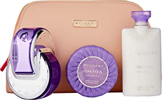 Bvlgari Omnia Amethyste for Women - 4 Pc Gift Set 2.2oz EDT Spray, 2.5oz Body Lotion, 2.5oz Scented Soap, Beauty Pouch, 4 Count