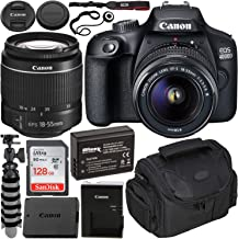 $319 » Canon EOS 4000D DSLR Camera with EF-S 18-55mm f/3.5-5.6 III Lens Beginner's Bundle - Includes: SanDisk Ultra 128GB SDXC Memory Card, Extended Life LPE10 Replacement Battery, Flexible Tripod & More