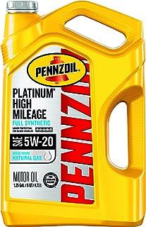 Pennzoil 550045196-3PK Platinum High Mileage Full Synthetic 5W-20 Motor Oil for Vehicles Over 75K Miles (5-Quart, Case of 3)