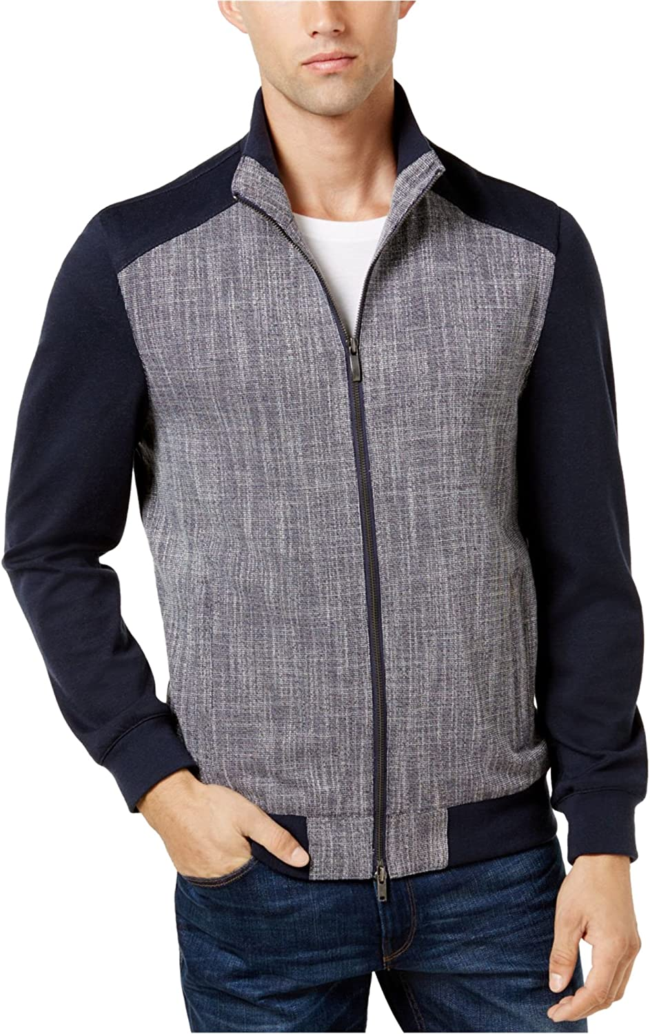 Vince Camuto Mens Scratch Weave Bomber Jacket, Blue, Small