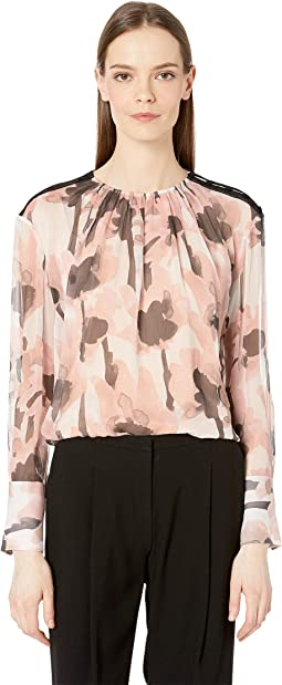 Watercolor Poppy Long Sleeve Blouse