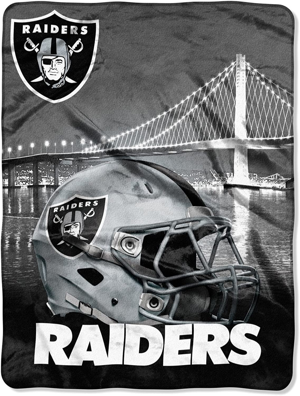 NFL Oakland Raiders Silk Touch Raschel Super Plush Throw, One Size, Multicolor